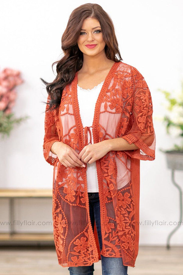 Sun Rolls In Floral Medallion Embroidered Lace Kimono in Salmon - Filly Flair