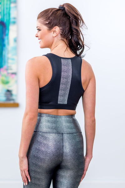 Shine A Light Foil Sports Bra in Black Silver - Filly Flair