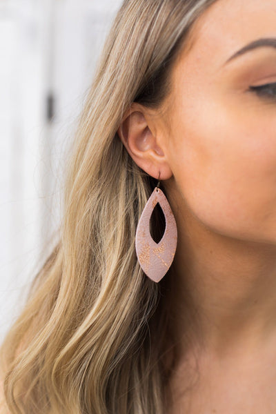 Pink & Rose Gold Leaf Cutout Mommy & Me Earrings - Filly Flair