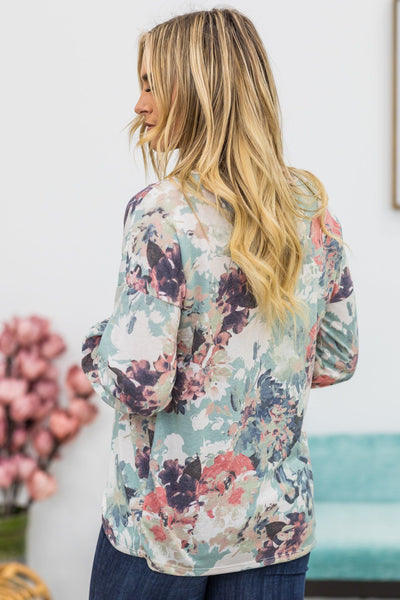 Like a Teenage Dream Floral Top in Sage and Pink - Filly Flair