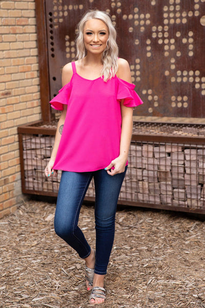 Miss Me More Short Sleeve Cold Ruffle Shoulder Top in Fuschia - Filly Flair