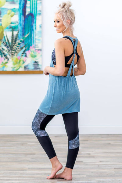 Close To You Braided Back Strap Ribbed Tank Top In Blue Mineral Wash - Filly Flair