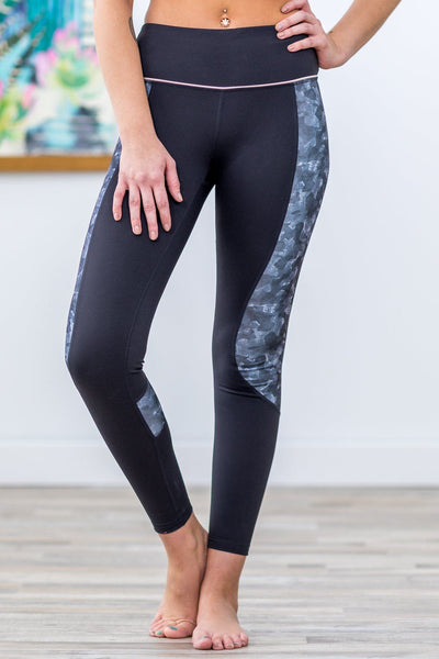 Small Town Love High Waist Camo Print Crop Leggings in Black Grey - Filly Flair