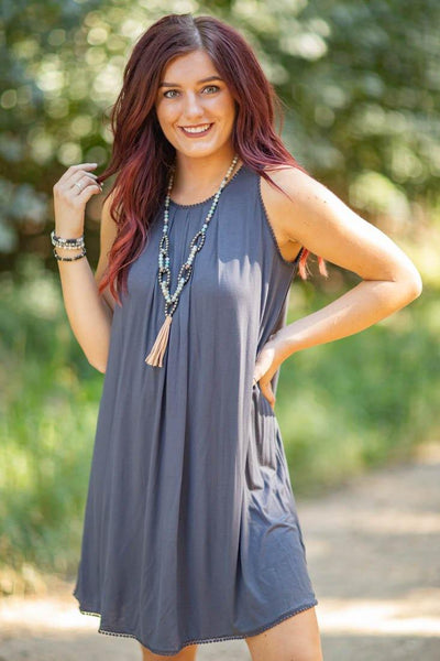 Because You Love Me Sleeveless Crochet Trim Mini Dress in Charcoal - Filly Flair
