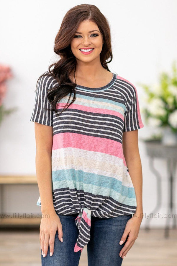 Remind Me Short Sleeve Striped Tie Front Top in Black Pink - Filly Flair