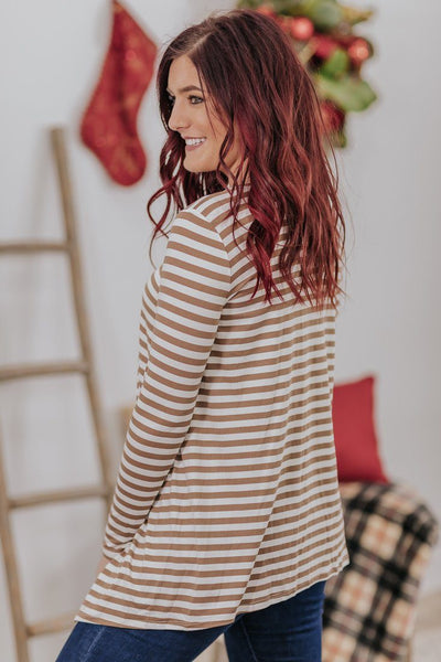 *DEAL*  Hanging With The Girls Striped Long Sleeve Button Detail Top in Taupe - Filly Flair