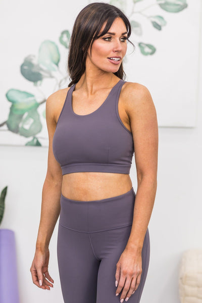 Pushing Forward Sports Bra In Plum Grey - Filly Flair