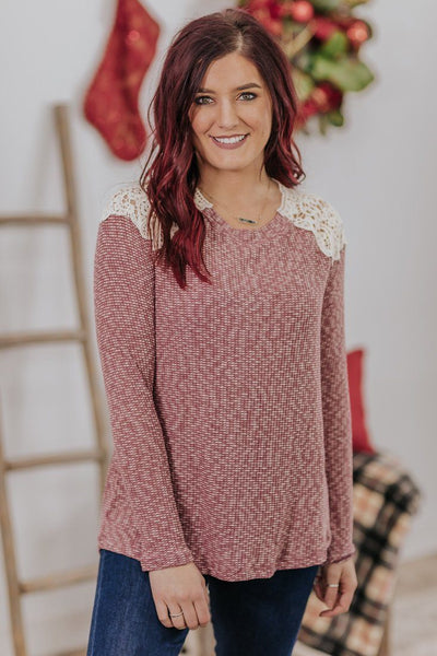 *DEAL*  Your Own Mantra Crochet Shoulder Detail Long Sleeve Top in Burgundy - Filly Flair