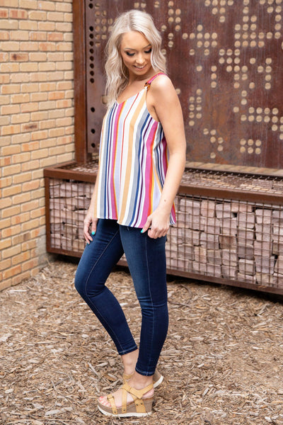 Girls Like You Multi-Colored Striped Button Detail Tank Top - Filly Flair