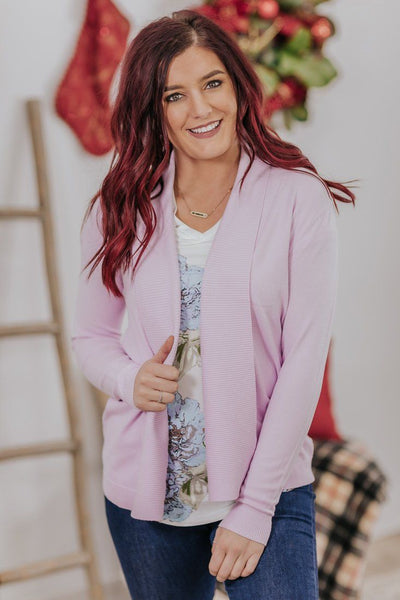 *DEAL* Embrace The Mess Ribbed Lapel Collar Long Sleeve Open Front Cardigan in Lavender - Filly Flair