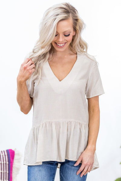 Do More Short Sleeve Striped Babydoll Top in Taupe - Filly Flair