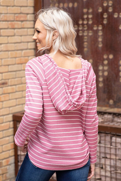 End of The Road Long Sleeve Striped Waffle Hooded Top in Mauve - Filly Flair
