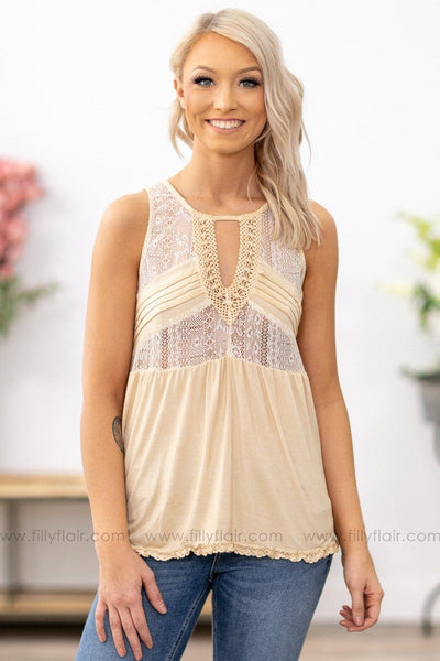 POL: You and Me Baby  Lace Crochet Keyhole Tank Top in Pale Yellow - Filly Flair
