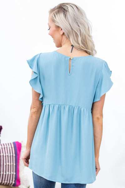 Evolve Short Ruffle Sleeve Babydoll Top in Baby Blue - Filly Flair