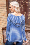 End of The Road Long Sleeve Striped Waffle Hooded Top in Blue White - Filly Flair