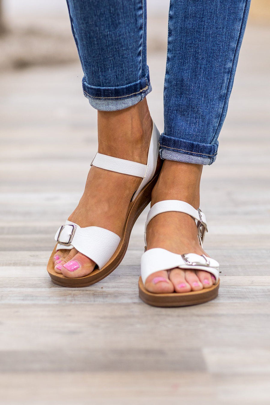 ac2898a15 She Will Be Here Buckle Sandals in White