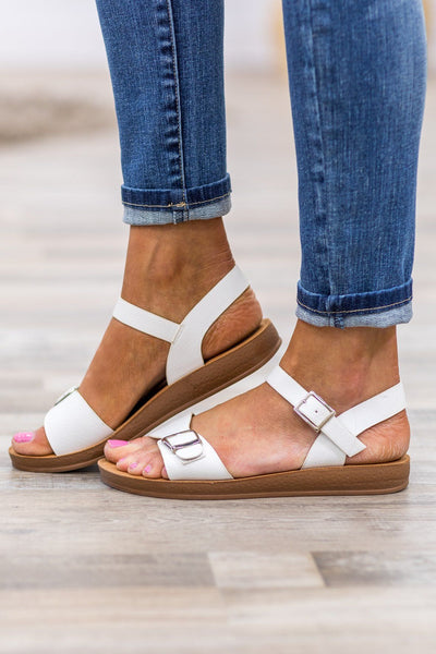 She Will Be Here Buckle Sandals in White - Filly Flair