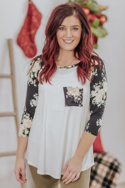 *DEAL* This Love Is Ours Floral 3/4 Sleeve Pocket Top In Black - Filly Flair