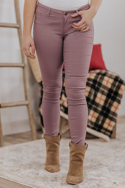 Bold & Basic Super Skinny Jeggings in Pale Plum - Filly Flair