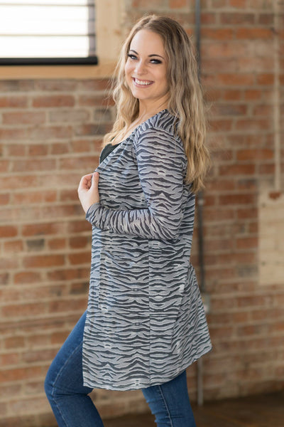 Telling Stories Animal Print Cardigan in Grey - Filly Flair