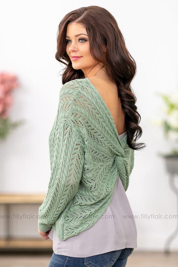 Anything and Everything Long Sleeve Twist Back Knit Sweater in Sage - Filly Flair