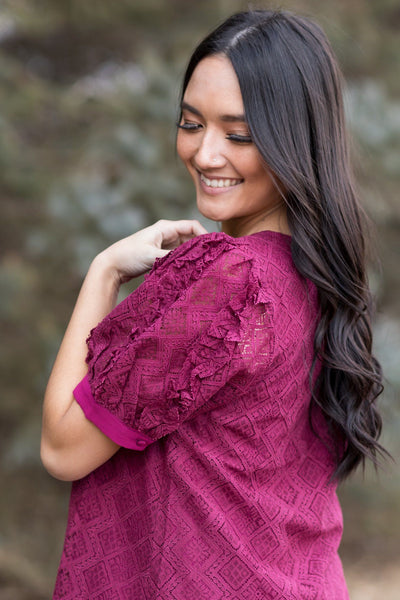 Always Do The Right Thing Ruffle Detail Short Sleeve Top in Wine - Filly Flair