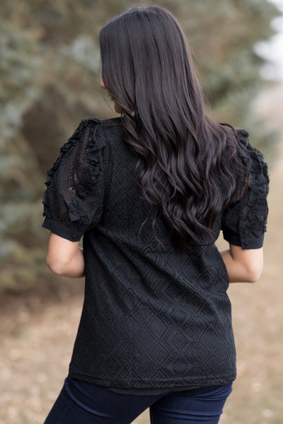 Always Do The Right Thing Ruffle Detail Short Sleeve Top in Black - Filly Flair