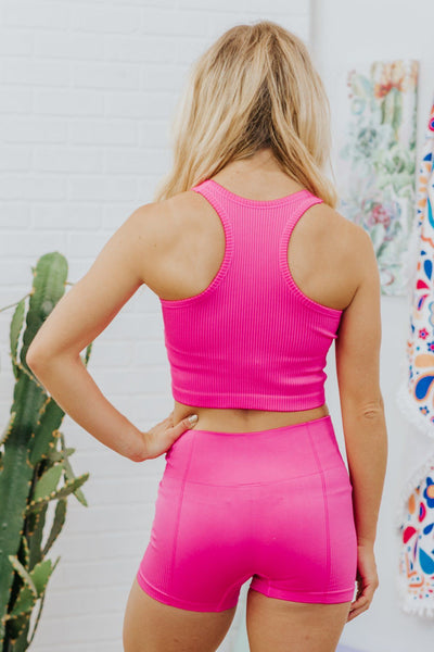 I Need You Four-Way Stretched Fabric Crop Top in Fuchsia - Filly Flair