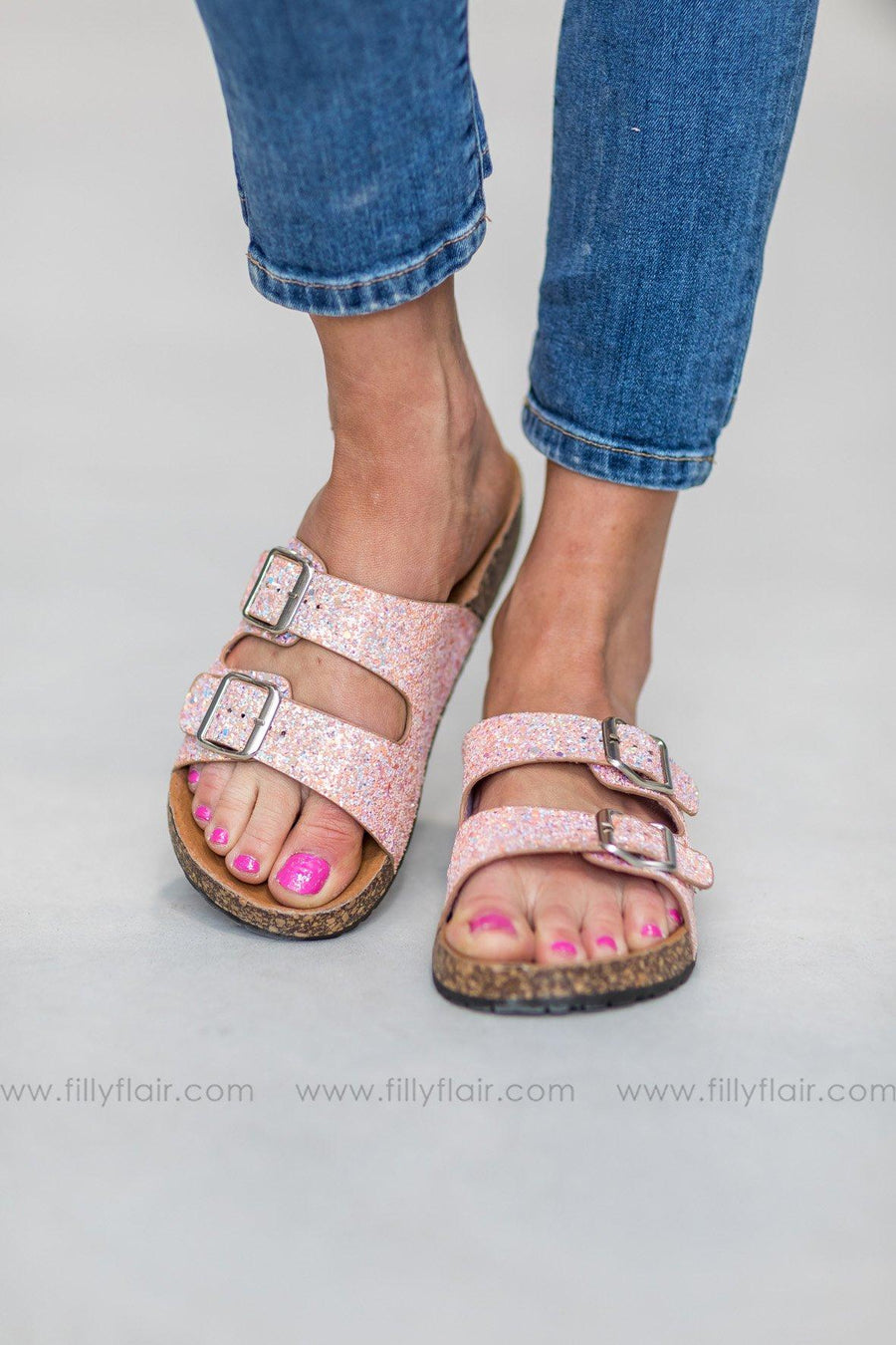 1997f99b9ba6f9 Shining Bright Double Strap Buckle Sandals in Pink Glitter