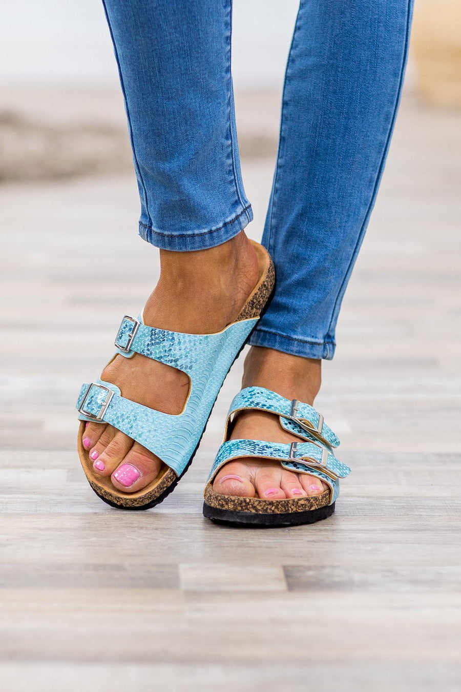 d6ddea72b940 Home for the Summer Light Snakeskin Double Strap Sandals in Light Blue