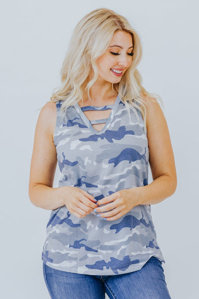 Put Yourself Together Camo Tank In Blue - Filly Flair