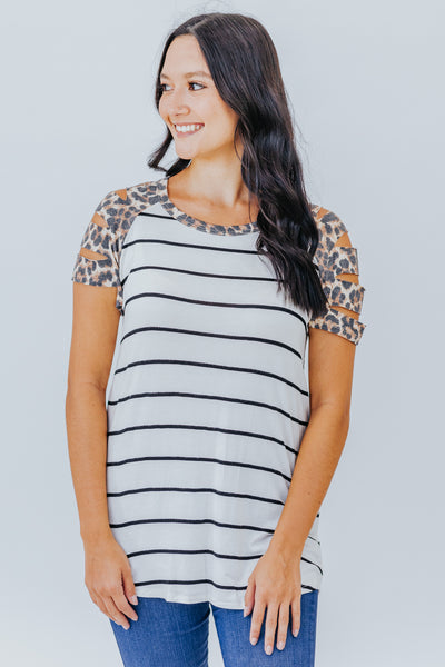 Take A Chance Leopard Oatmeal Charcoal Striped Short Cut Out Sleeve Top - Filly Flair
