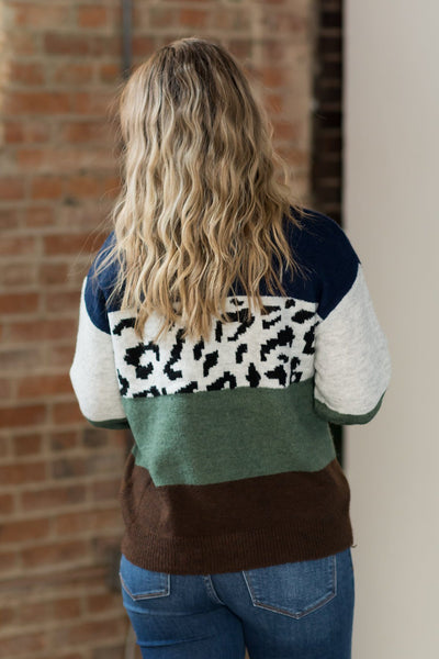 A Wild Ride Color Block Sweater in Green - Filly Flair
