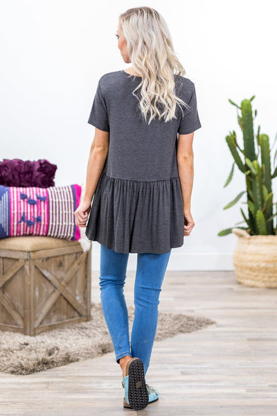 Walk Me Home Short Sleeve Babydoll Top in Charcoal - Filly Flair