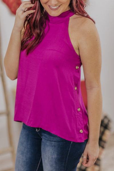 *DEAL* Into The Universe Button Detail Halter Neck Sleeveless Tank Top in Orchid - Filly Flair