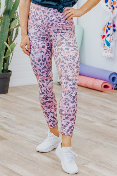 Catch Me If You Can Animal Print Leggings in Pink - Filly Flair