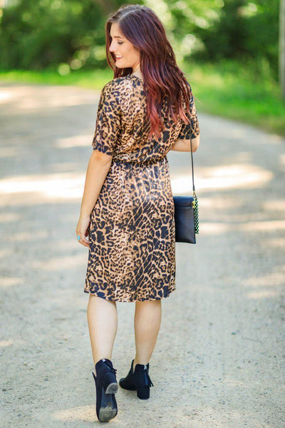 Trouble Maker Leopard Short Sleeve Elastic Waist V Neck Short Dress in Leopard Brown - Filly Flair