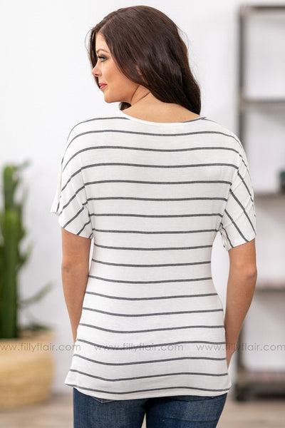 Let Me Love You Short Sleeve Striped Twisted Front Top in White Grey - Filly Flair