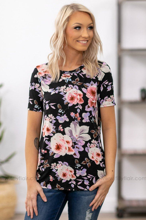 Just Want to Show You Short Sleeve Floral Top in Black - Filly Flair
