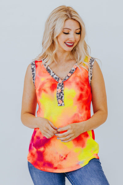 I'm A Flirt Tie Dyed Tank In Neon Coral - Filly Flair