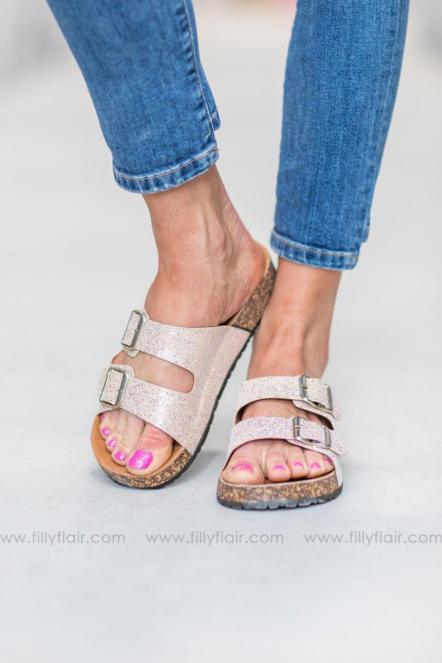 c82740b234dc Bright Lights Double Strap Buckle Sandals in Rose Gold