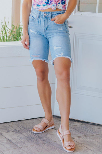 Gotta Get Up & Try High Rise Light Wash Fray Hem Bermuda Jean Shorts - Filly Flair
