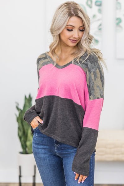 Unstoppable Color Block Sweater in Camouflage - Filly Flair