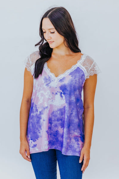 A Dream Is A Wish Lace Tie Dyed Tank In Purple - Filly Flair