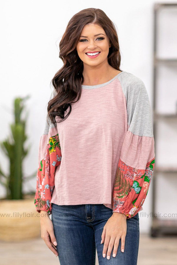 Kiss Me or Not Long Bishop Sleeve Floral Color Block Top in Pink - Filly Flair