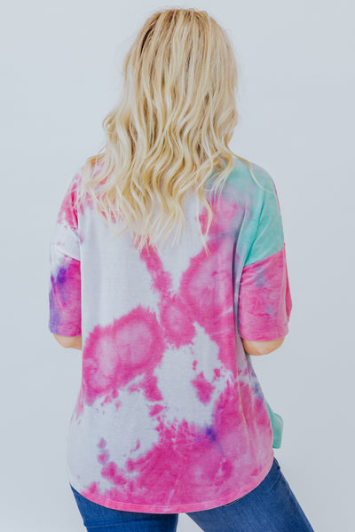 Fool In Love Tie Dye Top in Pink and Jade - Filly Flair