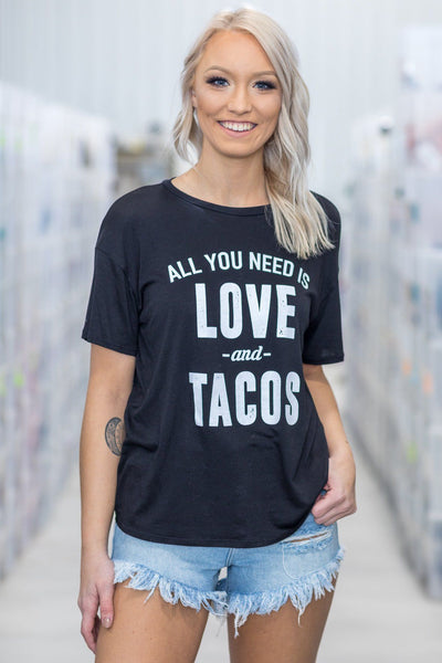 'All You Need is Love and Tacos' Short Sleeve Graphic Top in Black - Filly Flair