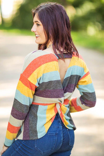 Fallen For Love Striped Long Sleeve Cut Out Twist Back Top in Multi-Color - Filly Flair