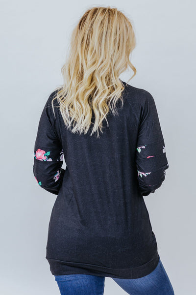 Flower Power Patch Pocket Floral Pullover In Black - Filly Flair