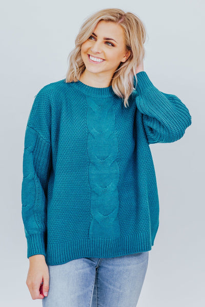 No Judgement Sweater in Teal - Filly Flair